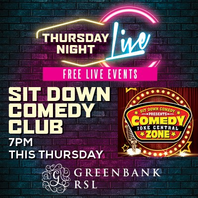 Greenbank RSL: Comedy Club square sched 2 400x400